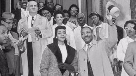 Leaving Harlem Hospital with Coretta Scott King. Photo courtesy of Untapped Cities and Harlem Hospital.