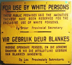 Apartheid Sign in South Africa. (Wikimedia Commons.)