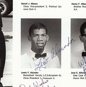 Back in high school, Kareem (then Lew) gave up a promising class president career to focus on ball, but he remained treasurer.