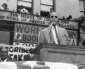 Malcolm X speaking in Harlem, 1962.