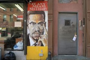 On Malcolm X Boulevard in Brooklyn.