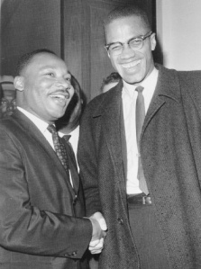 Dr. King and Malcolm X enjoying a moment during their only meeting.