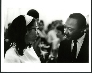 Dr. King backstage with Mrs. DuBois Peck.