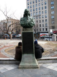 Bust of Stuyvesant in front of St. Mark's in the Bowery, where he is buried.