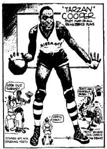 Cartoon of Hall of Famer Tarzan Cooper, one of the great centers of his day.