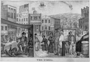 Cartoon depicting hard times during the 1837 Depression.