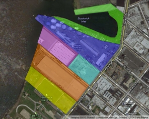 This map, designed by the Friends of Bushwick Inlet Park and explained here (http://gwapp.org/2012/09/parcel-ownership-update/) displays the private parcels needed to complete the park.
