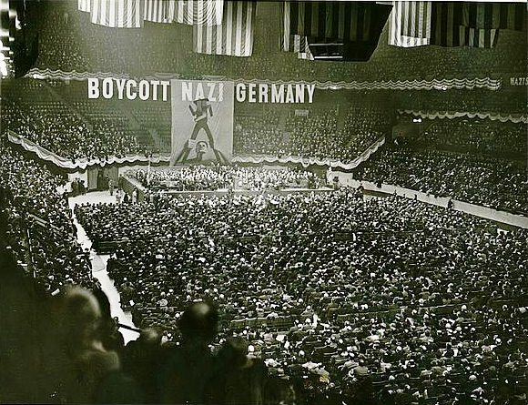This actually from a 1937 anti-Nazi rally, but the energy must have been similar. (Wikimedia Commons.)