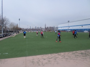Bushwick Inlet Park's heavily used astroturf soccer pitch. Photo by Janos Marton.
