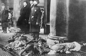 The bodies of 40 workers lay strewn on the ground as firemen surveyed the fire. From U. of Missouri archives.