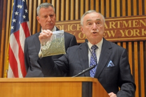 NYPD Commish Bill Bratton holds up what looks like oregano. Photo by DNA Info.