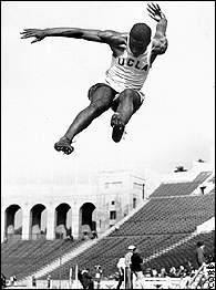 Robinson once jumped 25 feet, 6 inches at a meet, setting a junior college record. (Courtesy of AwesomeStories.)