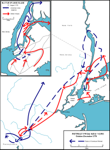 This wikimedia image shows the revolutionaries' retreat from New York in 1776.