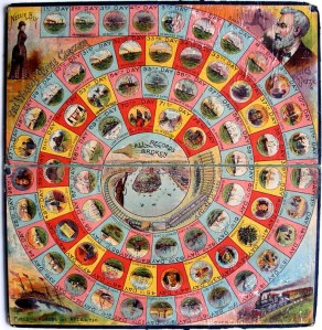 A copy of the Nellie Bly Trip Around the World board game.