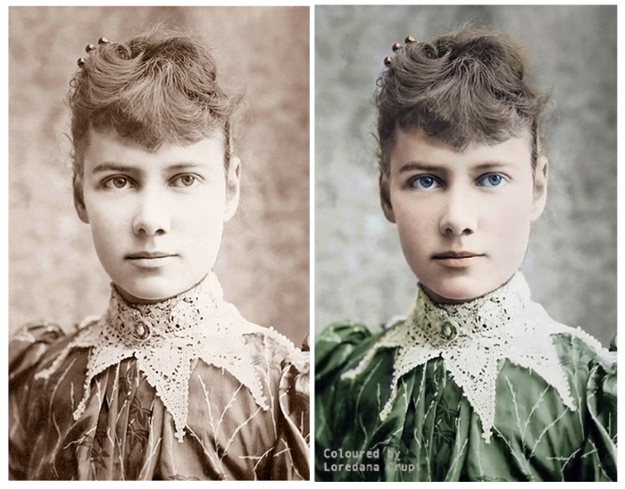 Nellie Bly. This coloring is done by Loredana Crup.