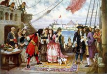 Captain Kidd entertaining guests. Painting by  Jean Leon Gerome Ferris, courtesy of Wikimedia.