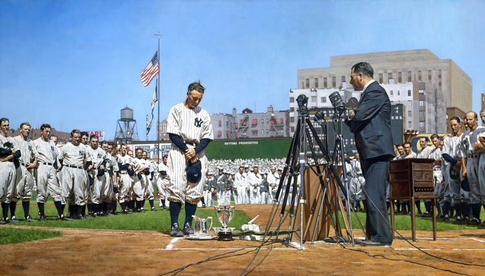 Lou Gehrig at Yankees Stadium, July 4, 1939. Image courtesy of MLB, colorization by Graig Kreindler.